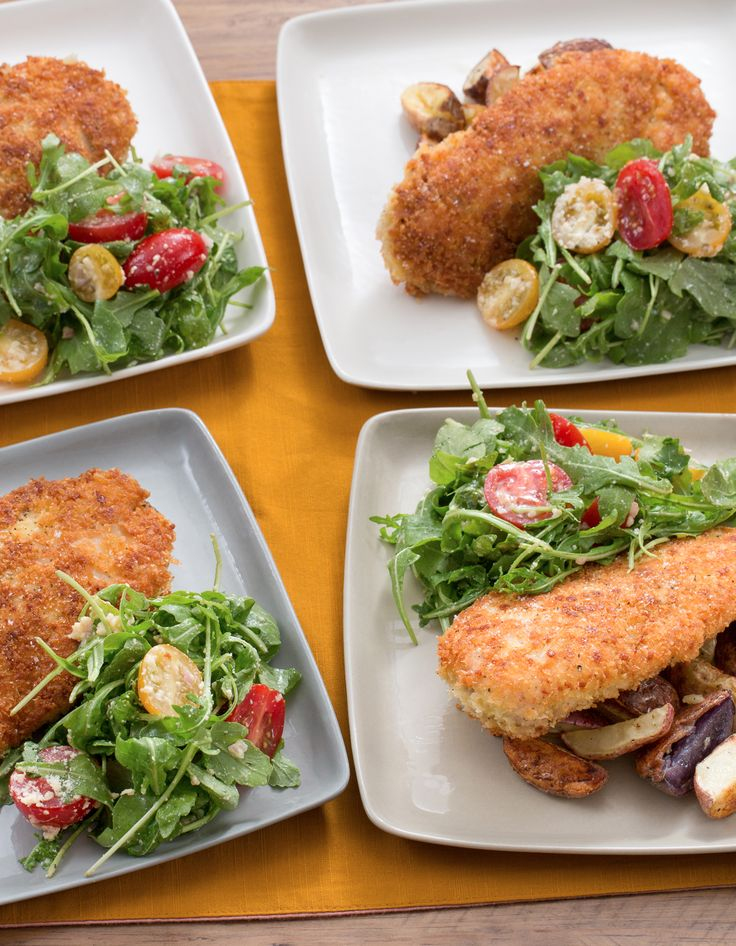 In the summer, we love to take advantage of the wide array of colors (and nuanced flavors) that's naturally available in our vegetables and fruits. This recipe does just that—in two sides for classic chicken cutlets, crusted with panko breadcrumbs and sharp Parmesan.