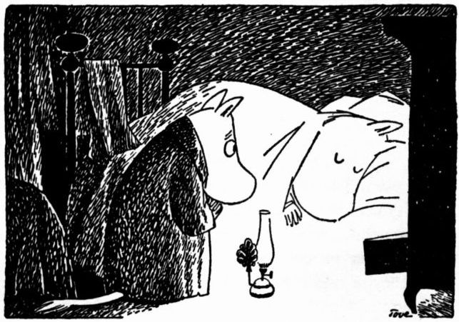 "Moomintroll and Moominmamma  ""He went to his mother's bed and whispered a question in her ear."""