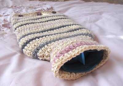 Deep Into the Darkness Peering: Striped hot water bottle cover - crochet pattern