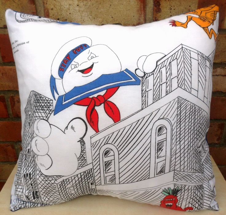 Ghostbusters Stay Puft Marshmallow Man Vintage Fabric Cushion ...