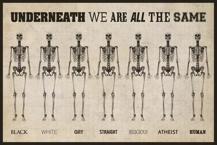 "I thought this picture, found on blogspot, was interesting.  It doesn't matter what color, shape, race, religion, sexuality, etc. we are, underneath we are all the same.  I related this to ""Pretending to be Post Racial"" because that reading dealt with different stereotypes, (particularly racial, but the idea applies to other stereotypes)......"