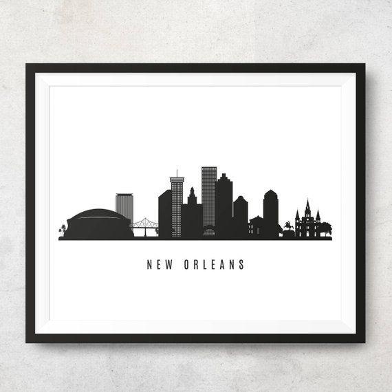 New Orleans Skyline Printable New Orleans Black White Wall Art New Orleans Poster Digital Print Vector Illustration Jpg Png Eps In 2020 New Orleans Skyline Black