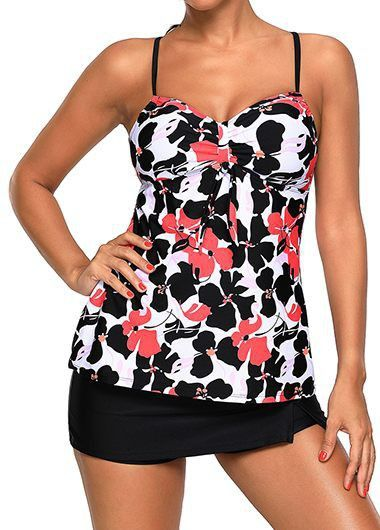 Criss Cross Back Tankini Top and Black Pantskirt on sale only US$35.27 now, buy cheap Criss Cross Back Tankini Top and Black Pantskirt at liligal.com
