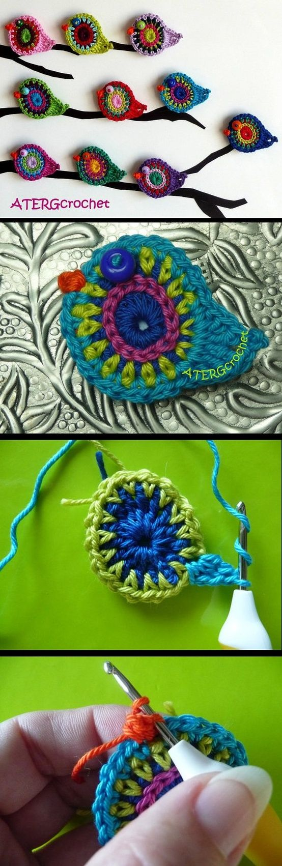 Crocheted birdies - Tutorial. Love the colors, the bird symbol and would be cool to decorate a tree.