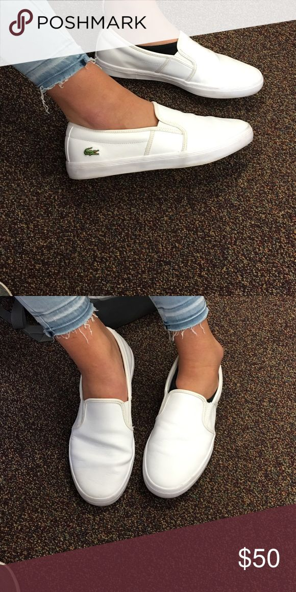 Lacoste white slip on shoes for women Size 11! True to size and fit! These shoes have been worn only a couple times and are still in great condition! Super comfy shoes! Original box is not included; however, the shoes will be shipped properly. Lacoste Shoes Slippers