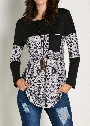 nice school outfit, Patchwork Printed Black Long Sleeve casual T Shirt ,on sale only US$24.01 now.