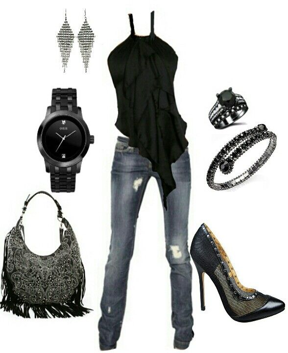 Black edgy casual outfit | Outfits I love!! | Pinterest | Casual outfits Bags and Shoes
