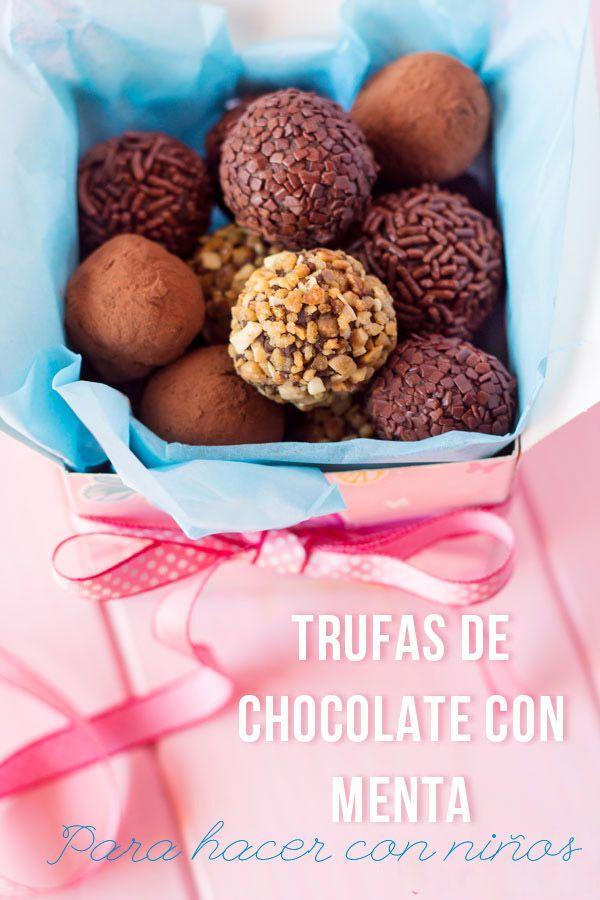Receta de trufas de chocolate.  Recetas para hacer con niños.  Cocinar con niños. CharHadas.com