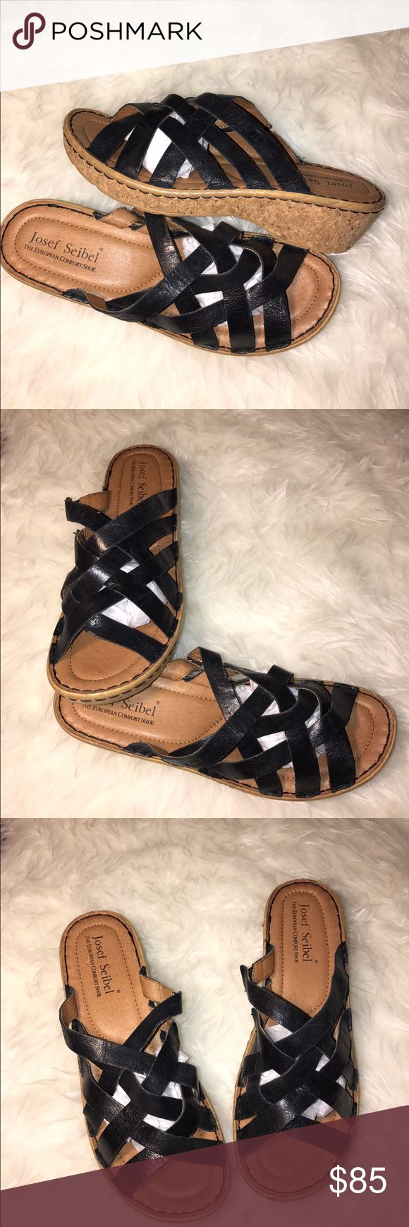 """JOSEF SEIBEL SIZE 11/E42 """"KIRA"""" BLACK SANDALS *JOSEF SEIBEL (The European comfort shoe) DOLOMITE """"KIRA"""" BLACK STRAPPY WEDGE SANDAL* 💗NO TRADES💗 -brand new -size is a EUROPEAN 42 which converts to about 10-11  -2"""" heel -weight 8.5 oz -platform height 1"""" -beautifully interwoven burnished leather uppers -cushion leather foot bed -lightweight, flexible and durable -soft leather lined straps -Color is black so it is a versatile color -all day comfort where -comes from a pet free/smoke free home…"""