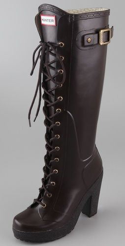 yes please- espresso lace up, high heel hunter boots. What could be better?