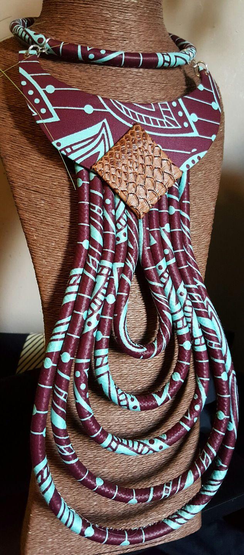 """Très beau collier en wax """"Makeda"""" : Collier par be-roots-creations"""