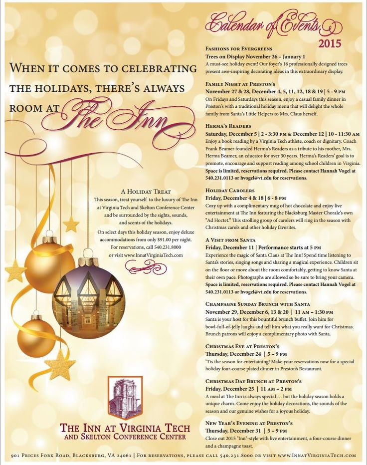 Celebrate the 2015 holiday season at The Inn at Virginia Tech with various event during the month of December.