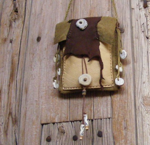 WALK IN the WOODS olive Leather Cross Shoulder Purse, 2 pockets, deer antler buttons, Tribal primitive bag