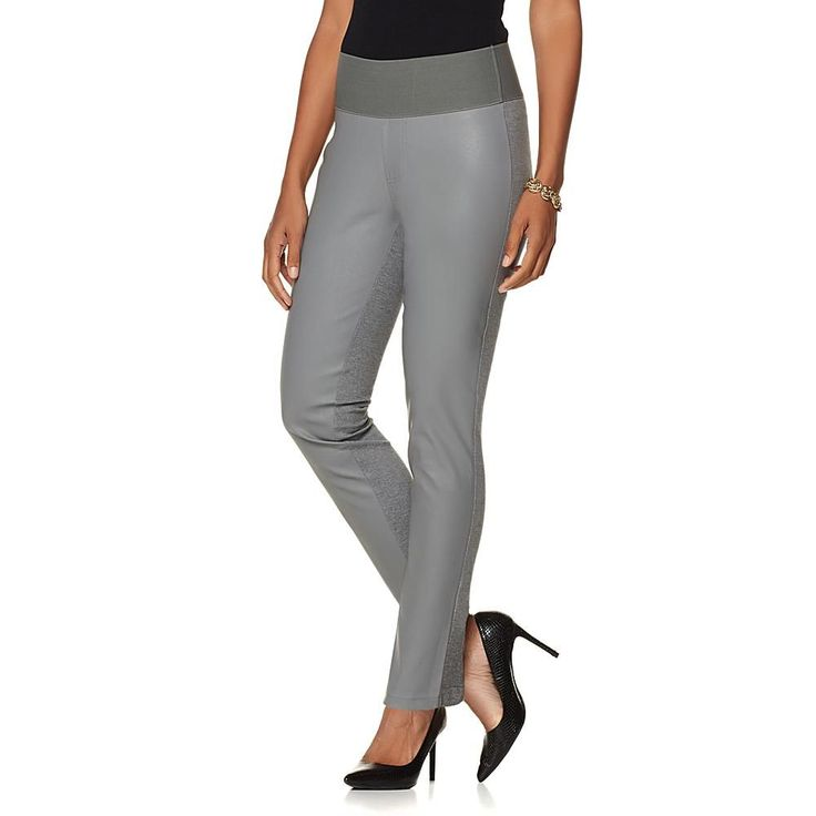 DG2 by Diane Gilman Ponte and Faux Leather Jegging - Gray/Grey