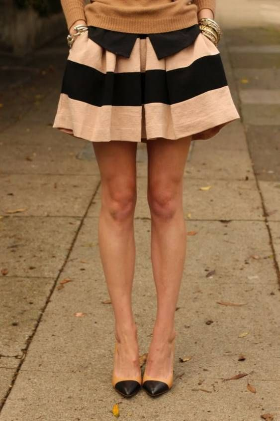 ..: Outfits, Fashion Shoes, Style, Colors, Stripes Skirts, Camels, Girls Fashion, Girls Shoes, Black