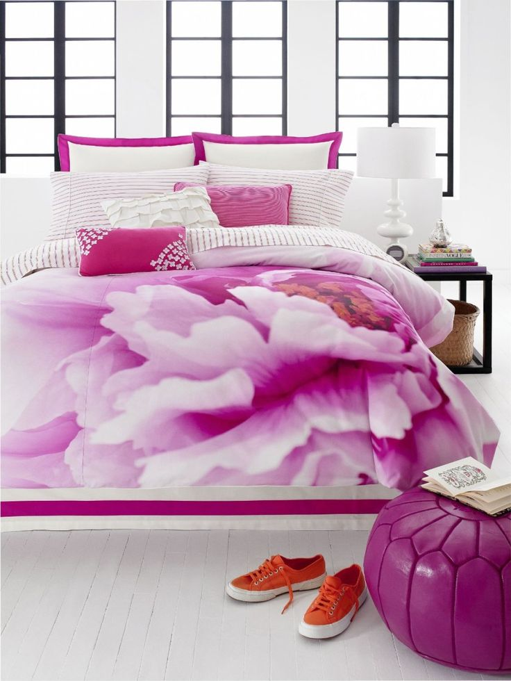 Lovable Teen Girl Bedroom Decoration With Various Teen Vogue Bedding Ideas: Amazing Picture Of Teen Girl Bedroom Decoration Ideas Using Drum White Bedside Lamp Shades Including Pink Rose Teen Vogue Bedding And Rectangular White Velvet Girl Headboard ~ fendhome.com Girls Bedroom Inspiration