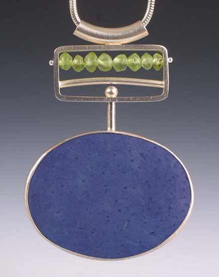 Blue Pendant: Ayala Naphtali: Silver & Coconut Shell Pendant - Artful Home