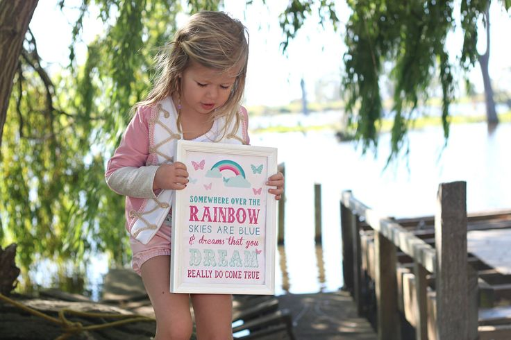 Nursery Wall Art - Printable Art - Somewhere Over the Rainbow - Baby Printable Quote - Rainbow Printable - Kids Wall Decor - Baby Wall Art