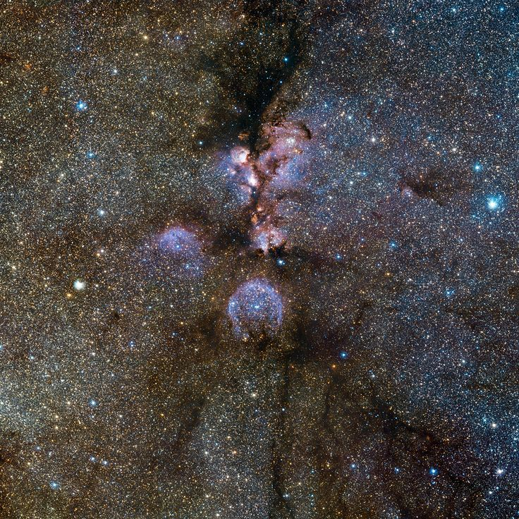 Infrared view of the Cat's Paw Nebula (NGC 6334) taken by VISTA. NGC 6334 is a vast region of star formation about 5500 light-years from Earth in the constellation of Scorpius. The whole gas cloud is about 50 light-years across. NGC 6334 is one of the most active nurseries of young massive stars in our galaxy. - Credit: ESO/J. Emerson/VISTA