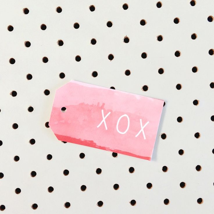 XOX on red/pink ombre water colour gift tag.Printed on high quality felt card stock.