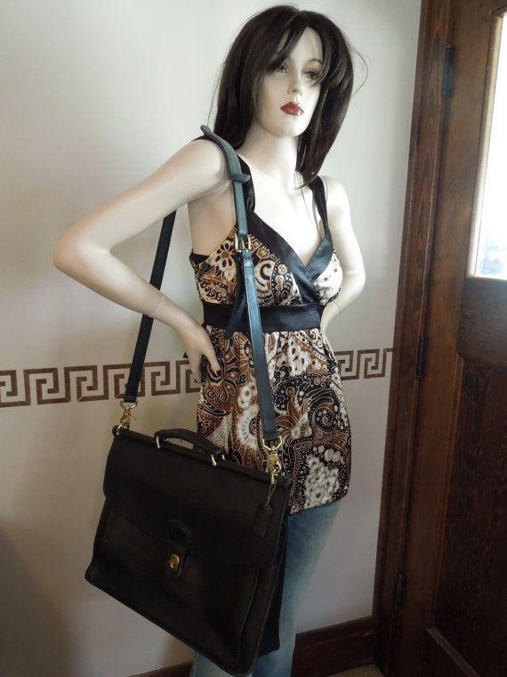 Vintage Coach Black Leather Briefcase Attache Laptop Bag Tote Messenger Handbag on Etsy, $225.00