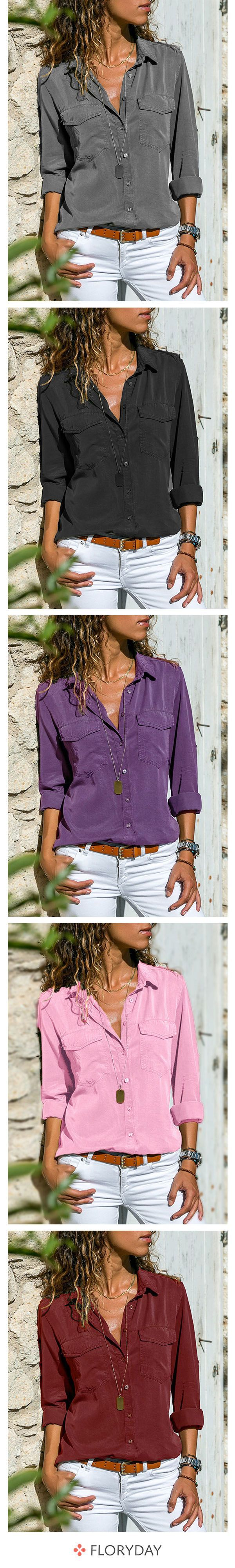 Casual blouses with a collar and long sleeves – Mode
