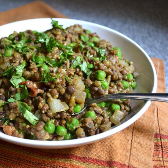 Keema, a delicious minced meat dish made instead with lentils. Delicious.