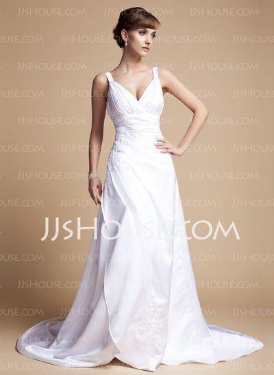 Wedding Dresses - $166.99 - A-Line/Princess Sweetheart Chapel Train Satin Wedding Dresses With Ruffle  Beadwork (002012057) http://jjshouse.com/A-line-Princess-Sweetheart-Chapel-Train-Satin-Wedding-Dresses-With-Ruffle--Beadwork-002012057-g12057