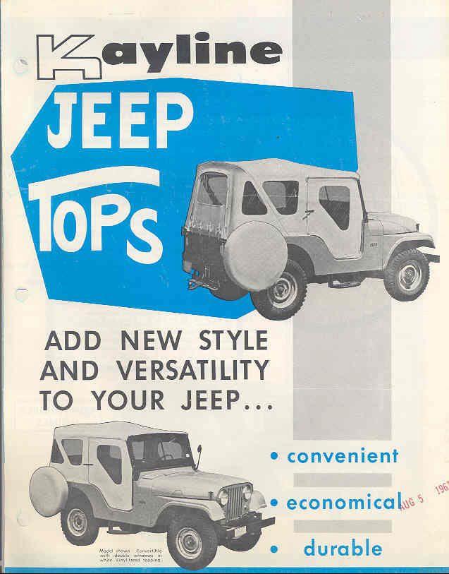 1959 Kayline Top Brochure1 Willys Jeep Jeep Tops Jeep