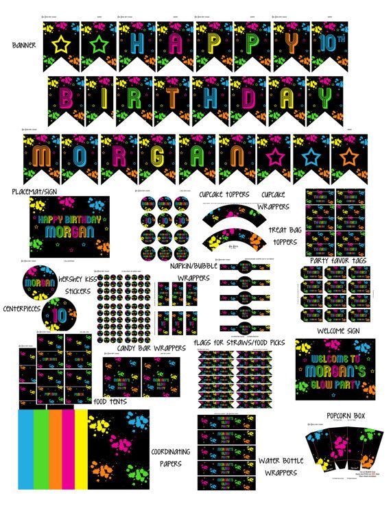 Printables party pack! Everything from cupcake toppers and party favor tags to candy bar wrappers and party signs!