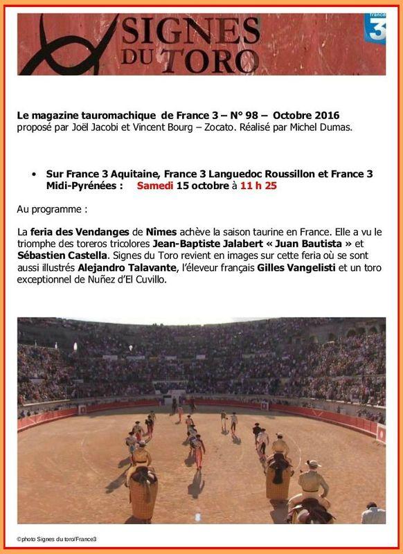 FR3 - Signes du toro -samedi 15 octobre