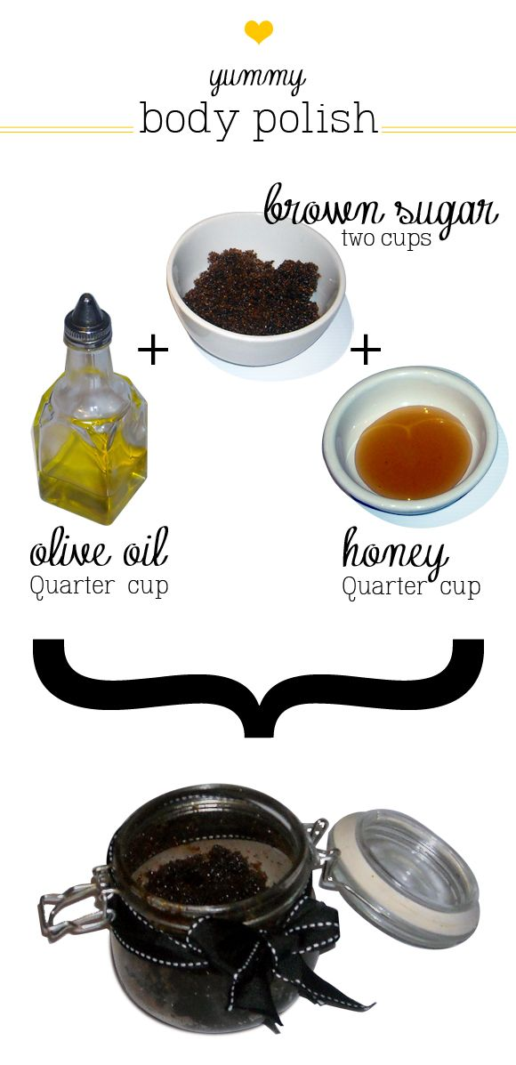 A natural body scrub using materials found in your kitchen. Scrub away and glow!