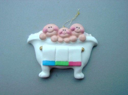 3 Babies in a bathtub ornament