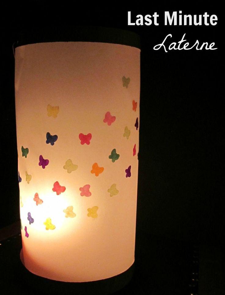 Für alle, die es bisher nicht geschafft haben eine Laterne zu basteln, habe ich hier noch eine blitzschnelle Anleitung für eine süße Schmetterlings-Laterne.