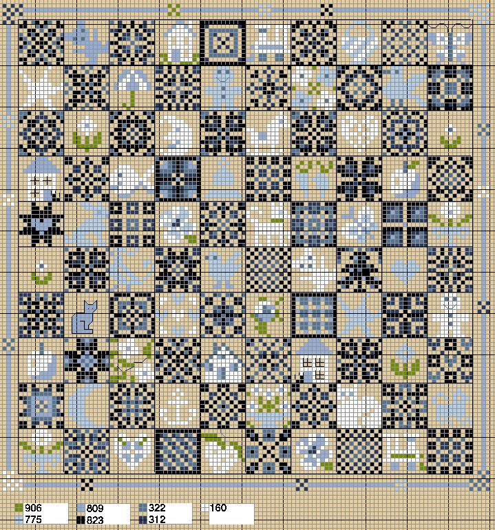 "Nice gameboard from Anne les petites croix.  Will make bookmarks using just the quilt pattern squares, two across, six down, two or three ""blank"" squares in between, with three shades of a color."