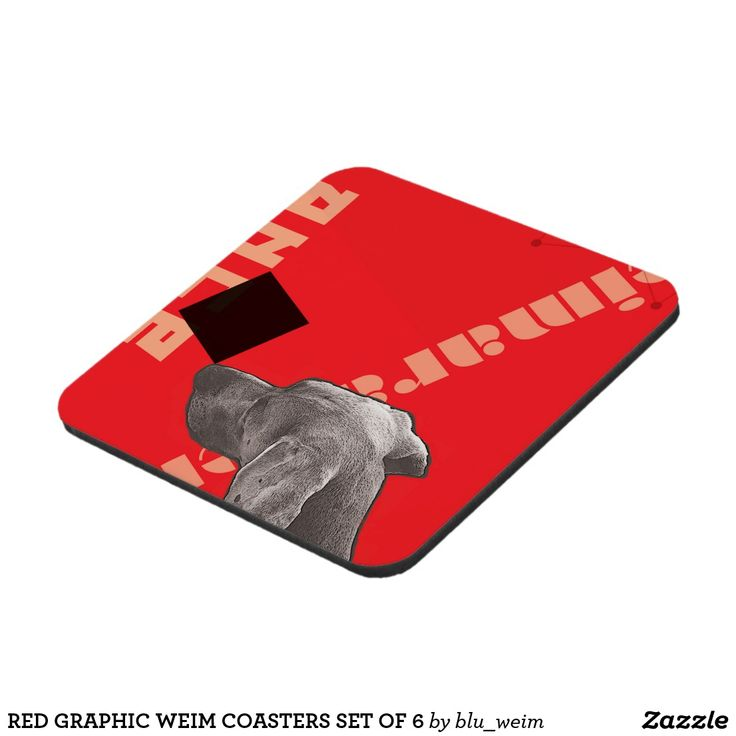 RED GRAPHIC WEIM COASTERS SET OF 6