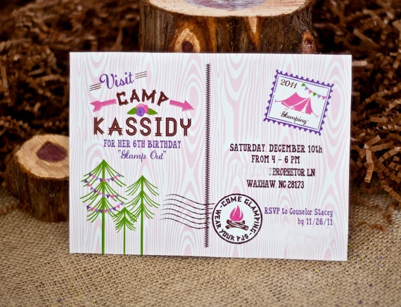 GLAM CAMPING Party Invitation  Glamping Invitation  by andersruff on Etsy: Birthday Parties, Glam Camps, Camps Birthday, Parties Ideas, Camps Parties, Camps Invitations, Parties Invitations, Glamping Parties, Birthday Ideas