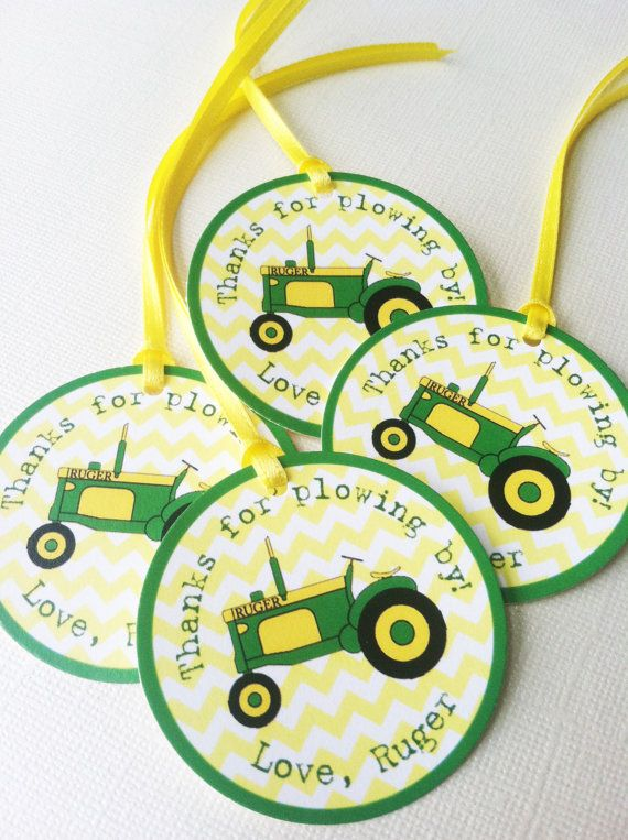 Green and Yellow Tractor Birthday Thank You Favor by PaperCutCards, $0.70