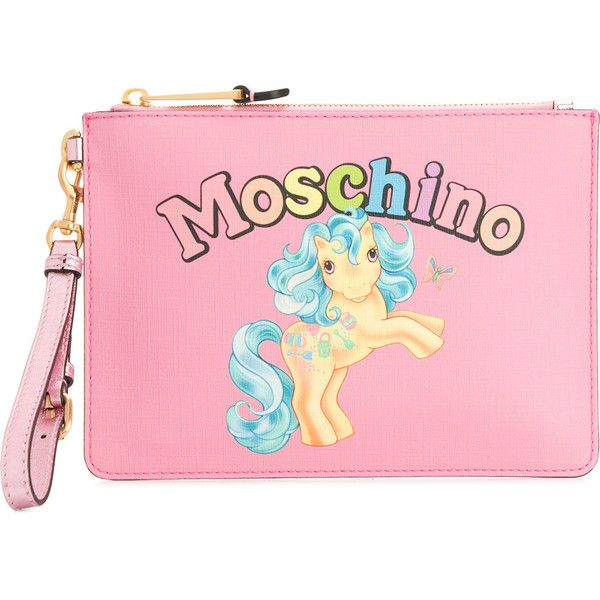 Moschino My Little Pony clutch bag (3.965.980 IDR) ❤ liked on Polyvore featuring bags, handbags, clutches, pink leather purse, pink handbags, leather handbags, leather clutches and pink leather handbags