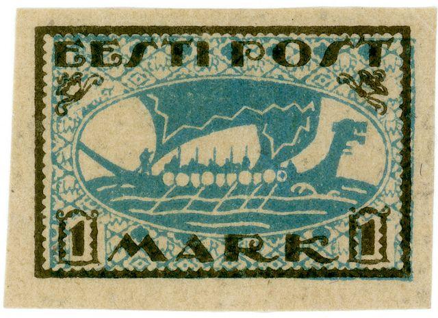 Estonia postage stamp: Viking ship,  c. 1920, via Karen Horton and flickr