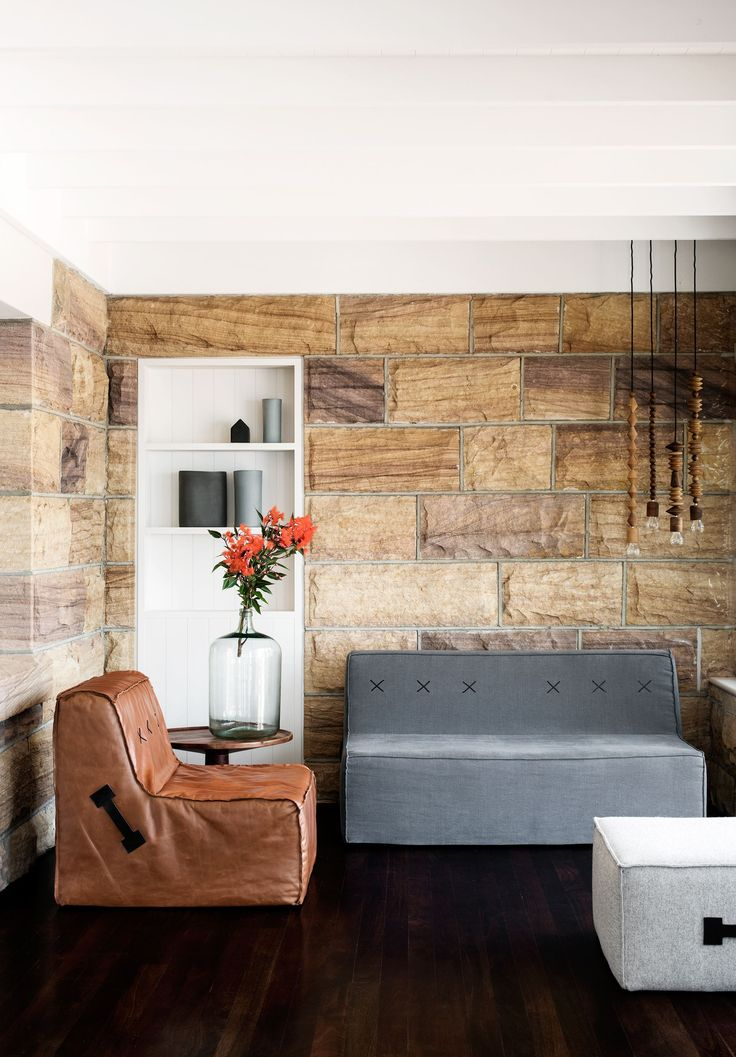 Living Room From A Restored Heritage Sandstone Cottage In Palm Beach, NSW.  Photography: