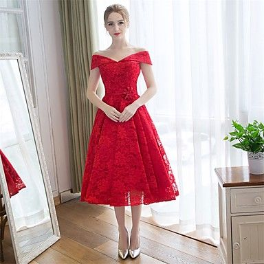 Tea-length Lace / Satin Bridesmaid Dress-Burgundy A-line Off-the-shoulder 2016 - $89.99