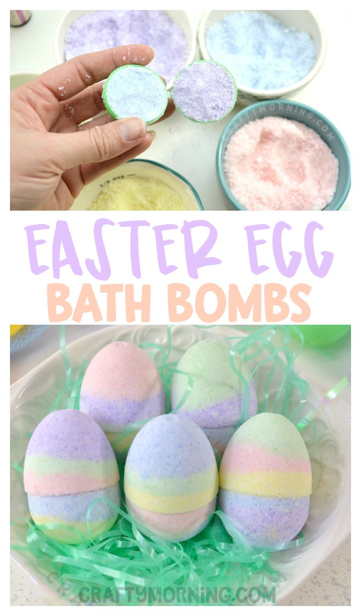 Make DIY homemade easter egg bath bombs for a non-candy easter basket filler item gift! Kids and adults would love them. Uses essential oils shaped like eggs.