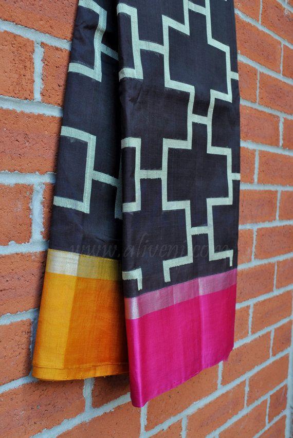 Black Kuppadam Saree with Ikat design all over & by Aliveni