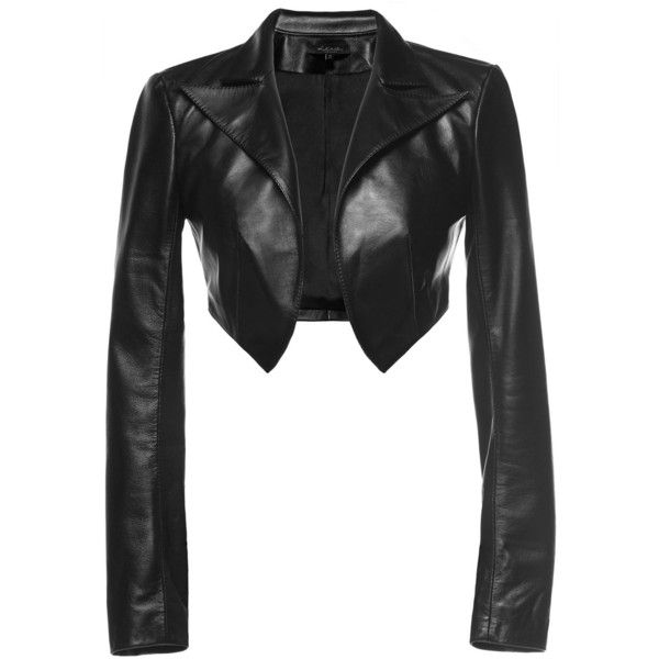 Leka - Cropped Leather Jacket ($230) ❤ liked on Polyvore featuring outerwear, jackets, crop, jackets/vests, leather, 100 leather jacket, genuine leather jackets, white leather jacket, leather jackets and white jacket