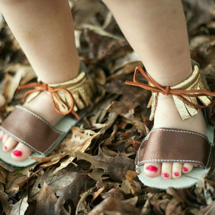 Sandal Moccs - Boho Double Fringe gold bronze baby toddler moccasins mocs sandals baby shoes