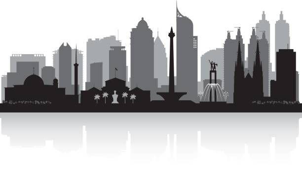 Jakarta Indonesia City Skyline Vector Silhouette Illustration City Skyline Silhouette Skyline Silhouette City Silhouette