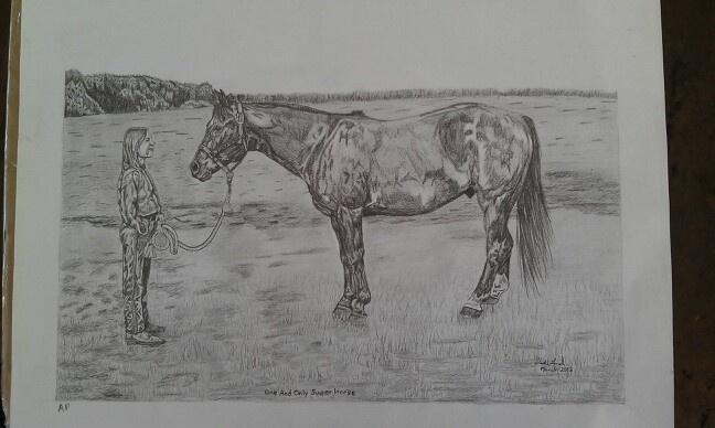 """One and Only Super Horse""  Pencil art by Vicki Lind on Facebook"