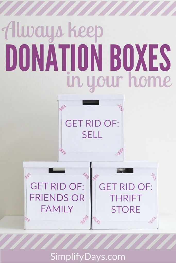 Minimize Tip: Always keep donation boxes in your home - Learn how and why to set up these simple boxes. // SimplifyDays.com