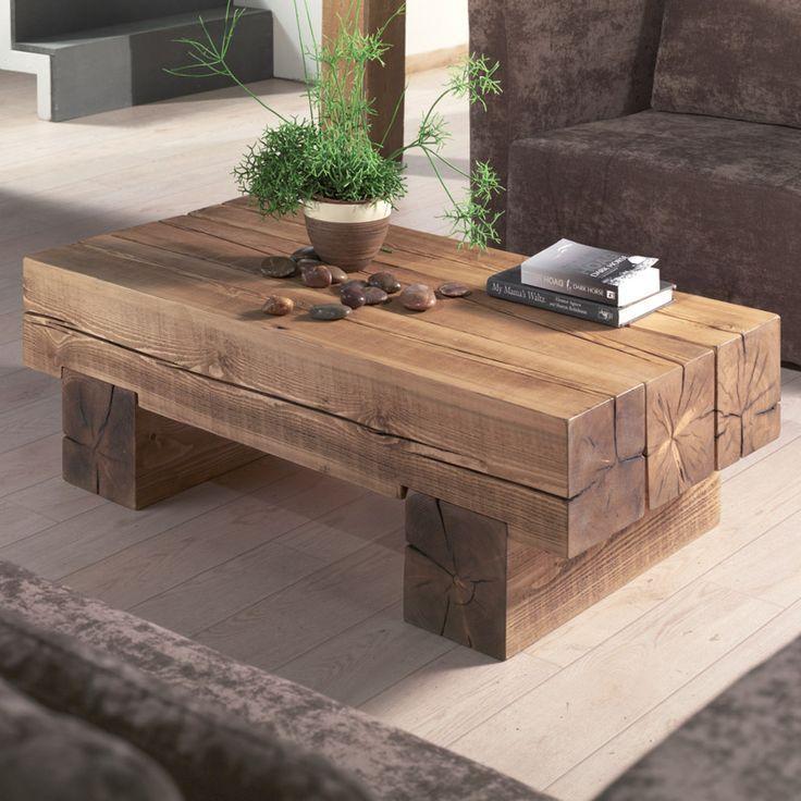 Table basse poutre en pin massif maison meuble grange mobilier de salon et coffee table design - Table basse vieux bois ...